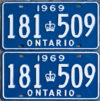 1969 Ontario licence plates for sale
