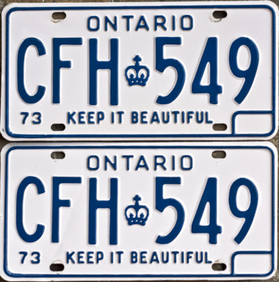 1973 Ontario YOM licence license plates for sale MTO
