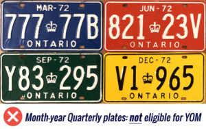 Ontario quarterly license licence plates YOM Year of manufacture