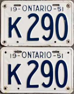 1951 Ontario license licence YOM plates