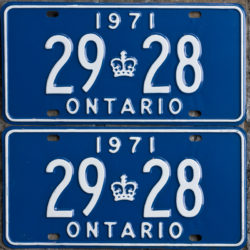 1971 Ontario licence plates for sale