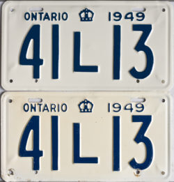 1949 Ontario YOM licence license plates for sale MTO1956 Ontario YOM licence license plates for sale MTO