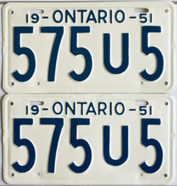 1951 Ontario YOM licence license plates for sale MTO