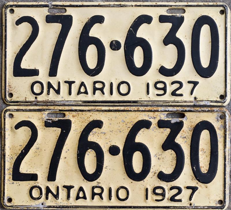 Ontario YOM License Plates