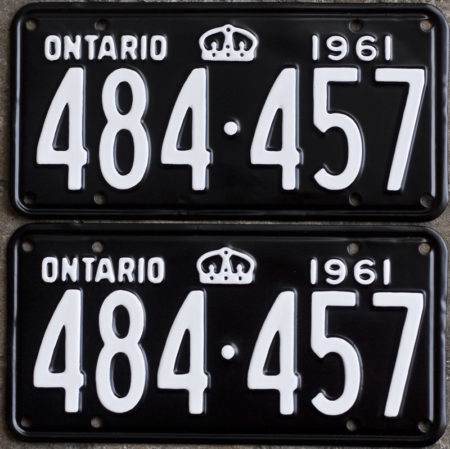 1961 Ontario YOM license plates for sale!