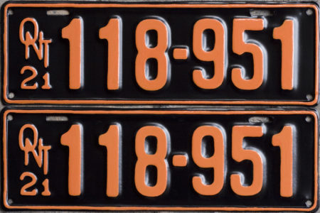 1921 Ontario YOM licence license plates for sale MTO
