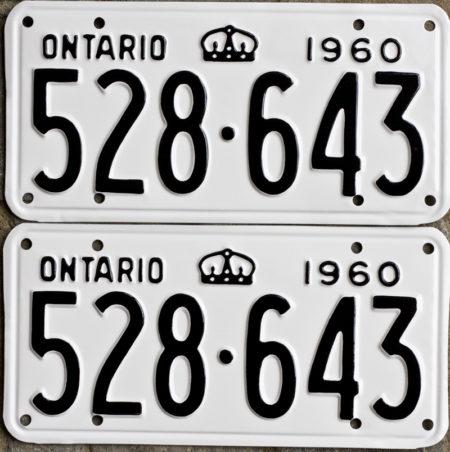 1960 Ontario license licence YOM plates