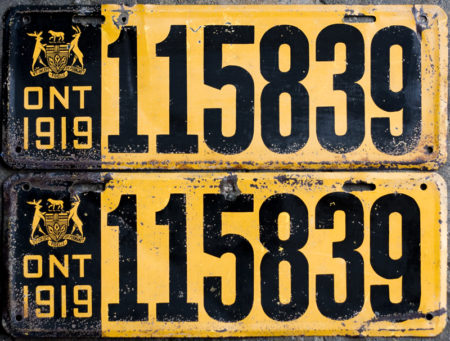 1919 Ontario YOM licence license plates for sale MTO