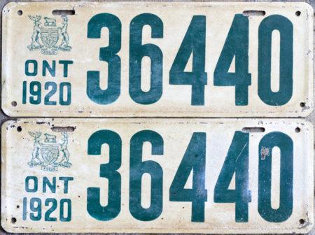 1920 Ontario license licence YOM plates