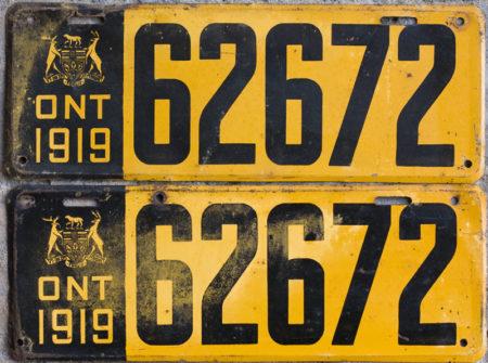 1919 Ontario license licence YOM plates